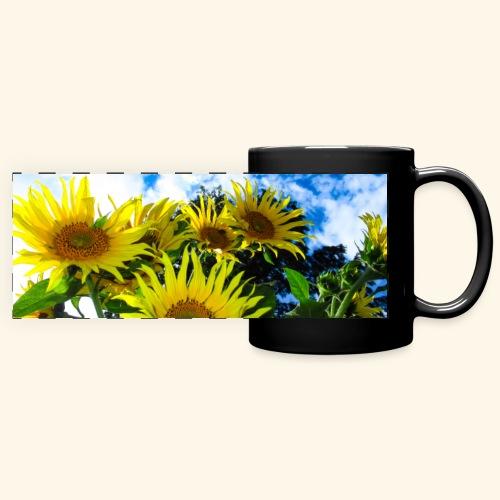 Sonnenblumen, blauer Himmel, Sonnenblume, Wolken - Panoramatasse farbig