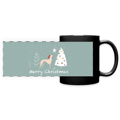 Windhundweihnachten - Panoramatasse farbig