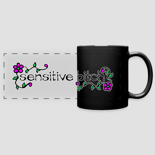 Sensitive Bitch (white outline) - Full Colour Panoramic Mug