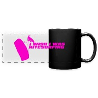 I Wish I Was Kitesurfing - Pink - Full Colour Panoramic Mug - black