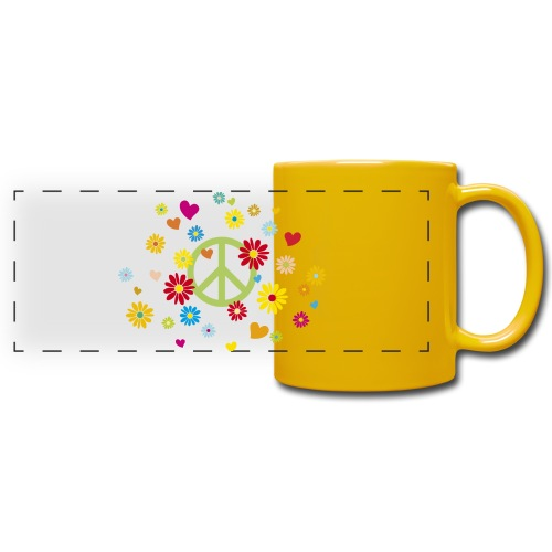 Peacezeichen Blumen Herz flower power Valentinstag - Full Color Panoramic Mug