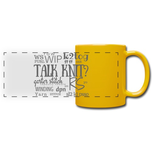 Talk Knit ?, gray - Full Color Panoramic Mug