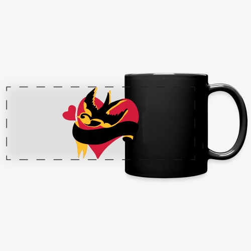 retro tattoo bird with heart - Full Colour Panoramic Mug