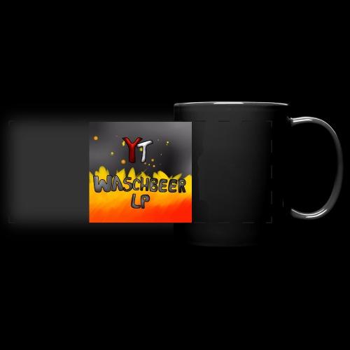 Waschbeer Design 2# Mit Flammen - Panoramatasse farbig