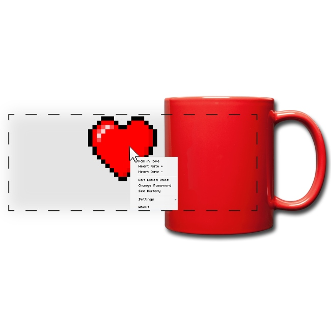 Options of the heart on a mug