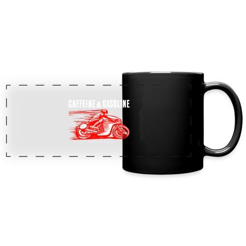 Caffeine & Gasoline white text - Full Colour Panoramic Mug