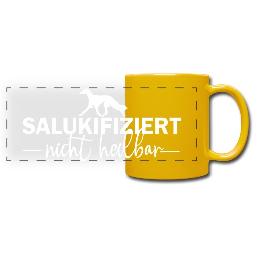 Saluki - nicht heilbar - Panoramatasse farbig