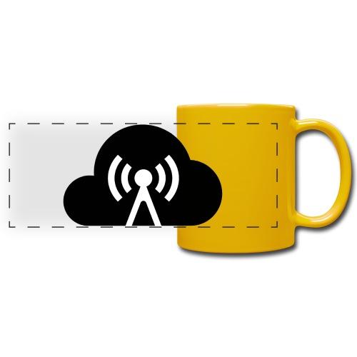 Cloud Cast Wolke schwarz mit Schriftzug - Panoramatasse farbig