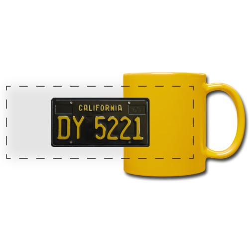 CALIFORNIA BLACK LICENCE PLATE - Full Color Panoramic Mug