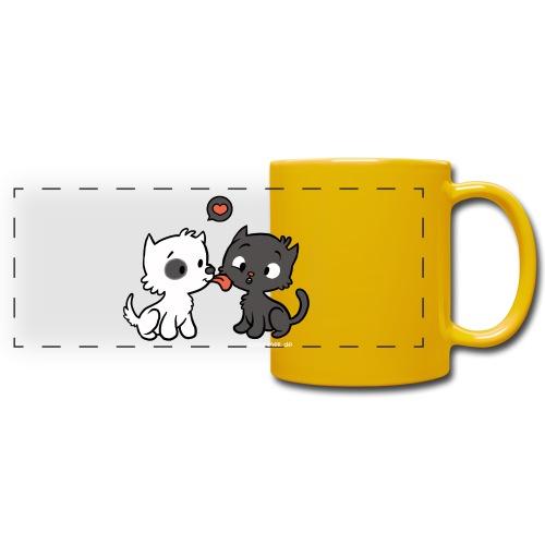 Hund liebt Katze - Panoramatasse farbig