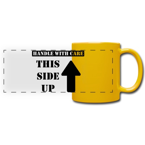 Handle with care / This side up - PrintShirt.at - Panoramatasse farbig