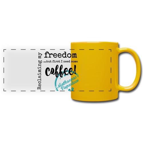 Kahvimuki Matkaopas Vapauteen, turkoosi - Panoraamamuki värillinen