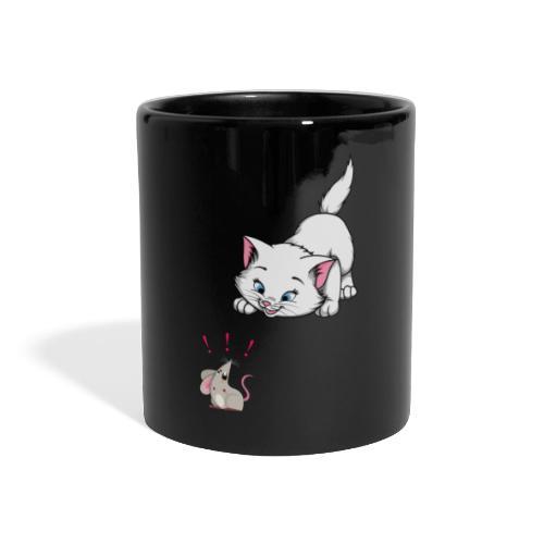 Katze und Maus Achtung Katze - Panoramatasse farbig