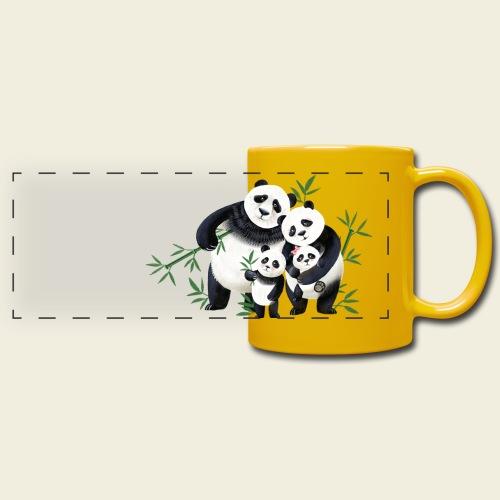 Pandafamilie zwei Kinder - Panoramatasse farbig