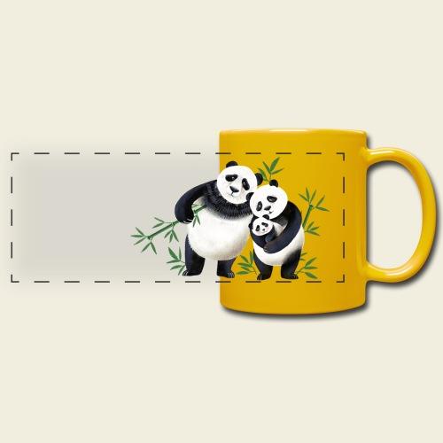 Pandafamilie Baby - Panoramatasse farbig