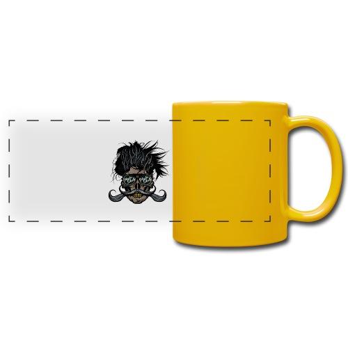 hipster skull tete de mort crane barbu moustache - Mug panoramique uni