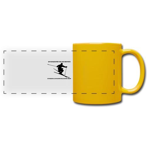 Tasse Ski Fahrer Spruch - Panoramatasse farbig