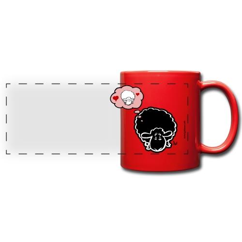 Myślenie o owcach (czarny) - Kolorowy kubek panoramiczny