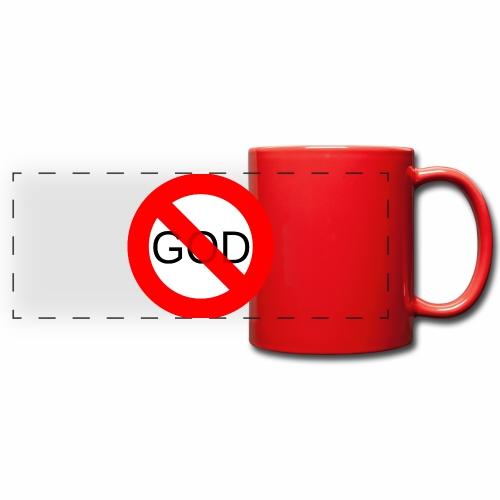 Znak zakazu - No God - Kolorowy kubek panoramiczny