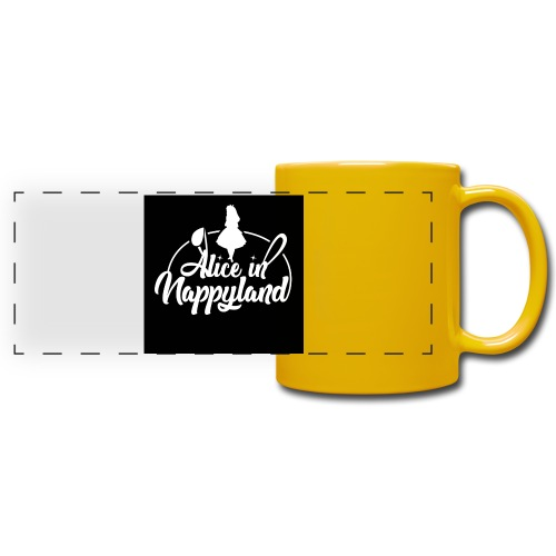 Alice in Nappyland TypographyWhite 1080 - Full Color Panoramic Mug
