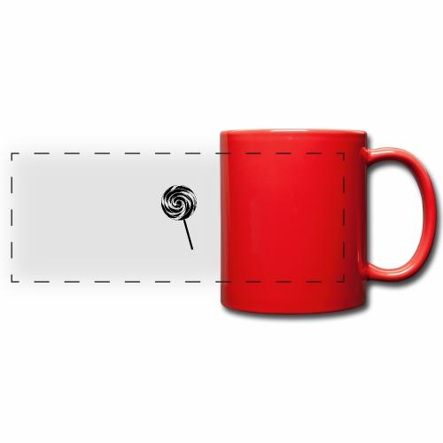 Retro Lutscher - Lollipop Design - Schwarz Weiß - Panoramatasse farbig