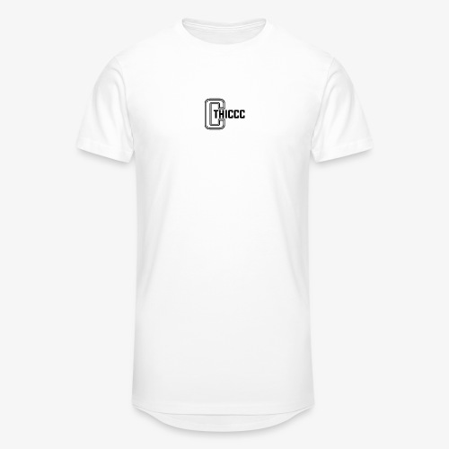 thiccc logo WHITE and BLACK - Men's Long Body Urban Tee