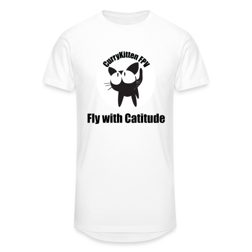 CurryKitten Logo - Fly with Catitude - Men's Long Body Urban Tee