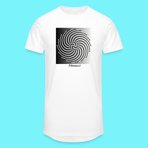 Fibonacci spiral pattern in black and white - Men's Long Body Urban Tee