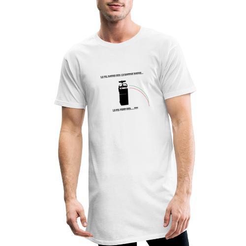 le fil rouge sur le bouton rouge - T-shirt long Homme
