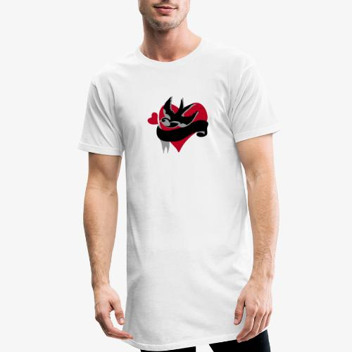 retro tattoo bird with heart - Men's Long Body Urban Tee