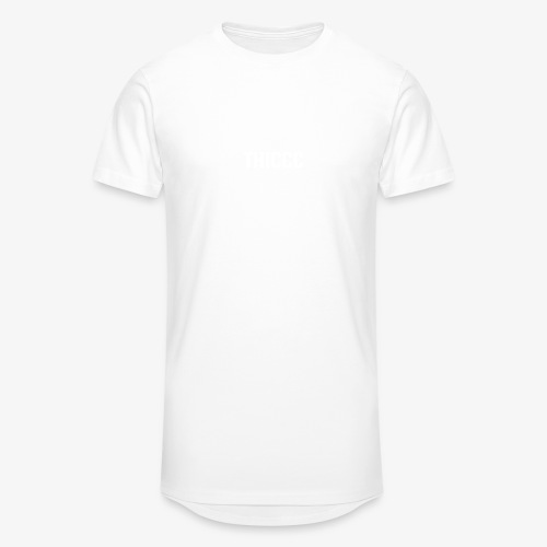 thiccc text logo WHITE - Men's Long Body Urban Tee