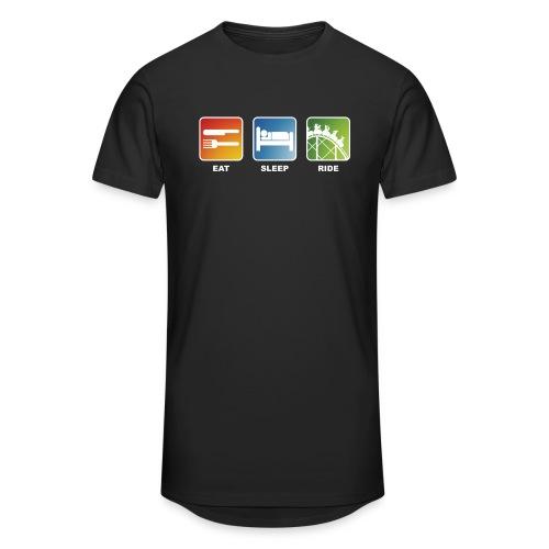 Eat, Sleep, Ride! - T-Shirt Schwarz - Männer Urban Longshirt