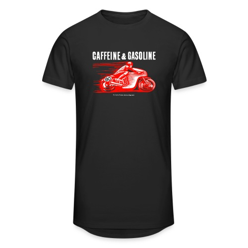 Caffeine & Gasoline white text - Men's Long Body Urban Tee