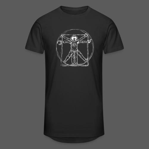 Vitruvian Gamer White Print - Männer Urban Longshirt