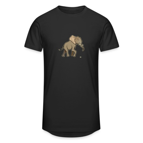 African Elephant (black edition) - Men's Long Body Urban Tee