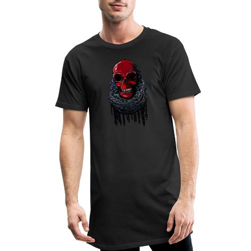 RED Skull in Chains - Men's Long Body Urban Tee