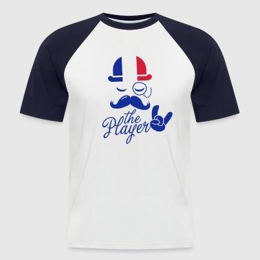 Frankrijk retro gentleman sport speler rock vrijgezel in Olympische poker voetbal kampioenschap snor Europese vlag - Mannen baseballshirt korte mouw