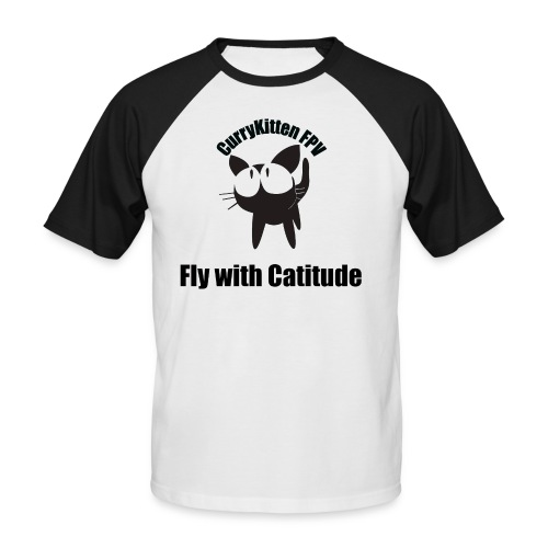 CurryKitten Logo - Fly with Catitude - Men's Baseball T-Shirt