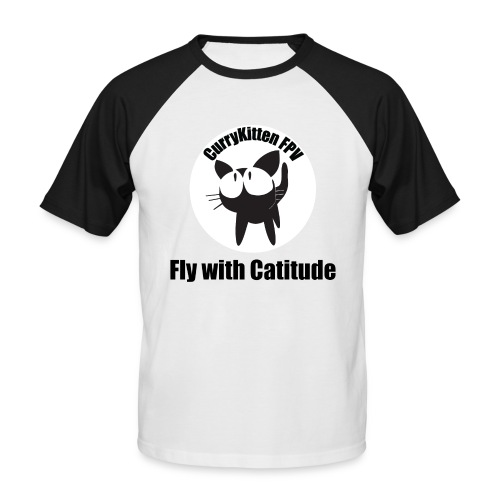 CurryKitten Logo - Fly with Catitude - Men's Baseball T-Shirt