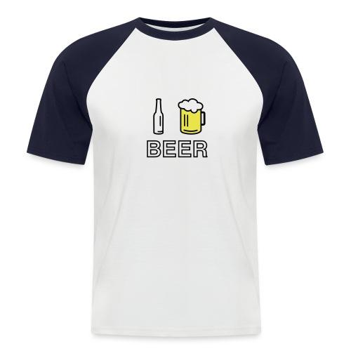 I Love Beer (2-farbig) - Männer Baseball-T-Shirt