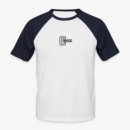 thiccc logo WHITE and BLACK - Men's Baseball T-Shirt