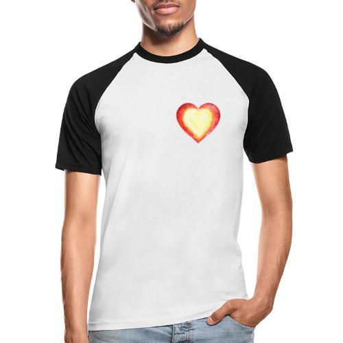 Burning Fire heart - Men's Baseball T-Shirt