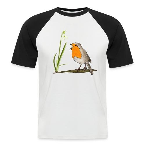 Frühling, Rotkehlchen, Schneeglöckchen - Männer Baseball-T-Shirt
