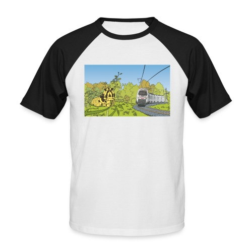 Raupe und Zug - Männer Baseball-T-Shirt