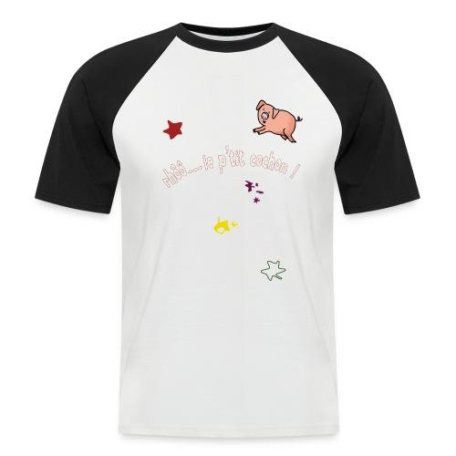 Rhoo le ptit cochon ! (version pour fond sombre) - T-shirt baseball manches courtes Homme