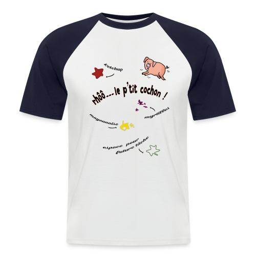 Rhoo le ptit cochon ! (version pour fond blanc) - T-shirt baseball manches courtes Homme