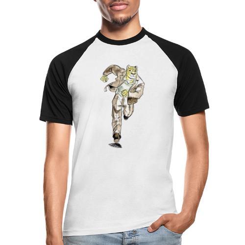 guépard caricature en aquarelle qui coure - T-shirt baseball manches courtes Homme