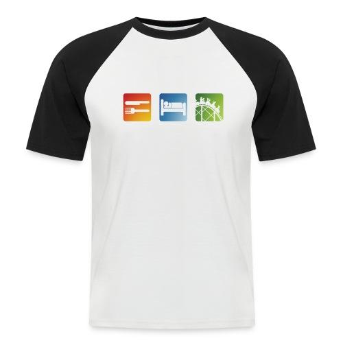 Eat, Sleep, Ride! - T-Shirt Schwarz - Männer Baseball-T-Shirt