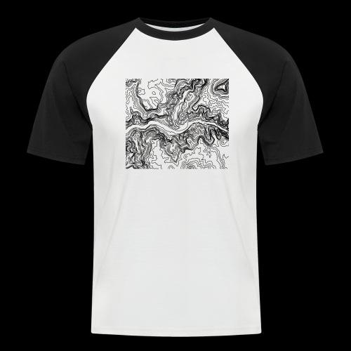Hoehenlinien schwarz - Männer Baseball-T-Shirt