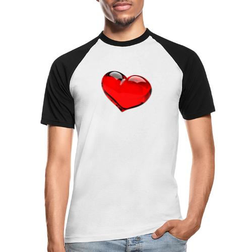 serce 3D - Koszulka bejsbolowa męska
